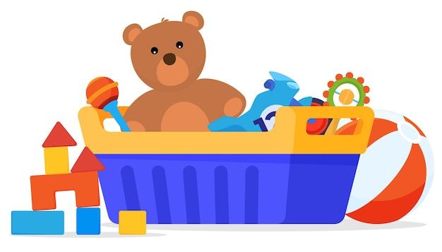 Set di giocattoli. giochi per bambini. peluche, automobili, bambole.