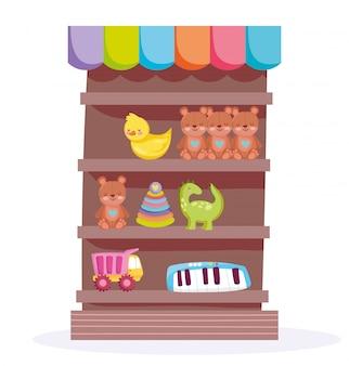 Set di giocattoli per bambini negli scaffali