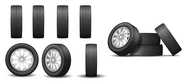 Set di pneumatici da pista e ruote in gomma per elementi isolati per auto in un design realistico. manutenzione della macchina e concetto di vulcanizzazione. illustrazione vettoriale 3d