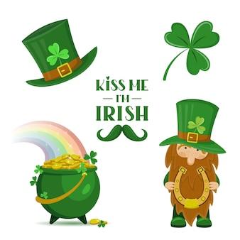 Set di elementi tradizionali irlandesi e segno di iscrizione per il giorno di san patrizio