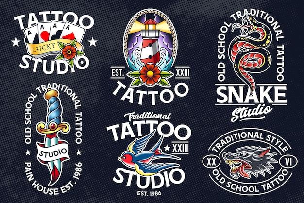 Set di emblemi di stile tatuaggio tradizionale. modelli di logo del tatuaggio della vecchia scuola.