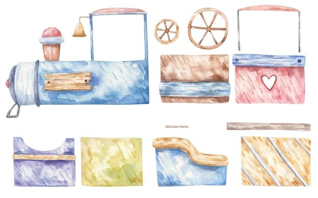 Set di treno, carrozze, ruote, simpatica illustrazione ad acquerello per bambini