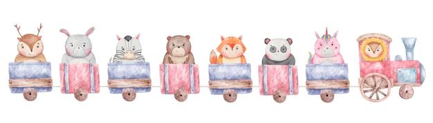 Set di treni, vagoni con diversi simpatici animali Vettore Premium