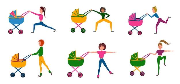Imposta l'allenamento con un passeggino. una ragazza fa esercizi sportivi con il suo bambino. esercizi per le gambe. illustrazione vettoriale su sfondo bianco isolato.