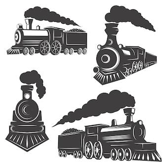 Insieme delle icone dei treni su fondo bianco. elementi per logo, etichetta, emblema, segno, marchio.