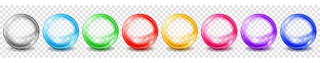 Set di sfere colorate traslucide con riflessi e ombre su sfondo trasparente. trasparenza solo in formato vettoriale