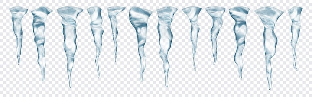 Set di ghiaccioli grigi realistici traslucidi di diverse lunghezze su sfondo trasparente. trasparenza solo in formato vettoriale