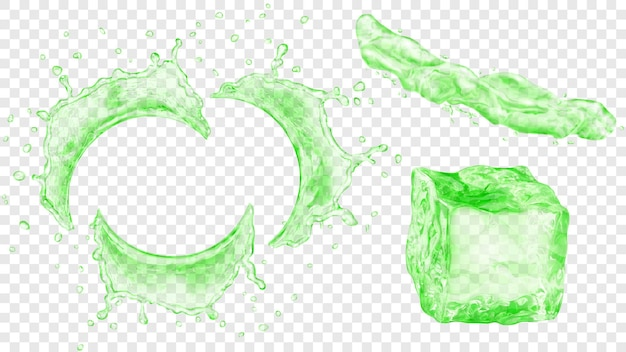 Set di acqua semicircolare traslucida spruzza con gocce, getto di liquido e cubetto di ghiaccio in colori verdi, isolato su sfondo trasparente. trasparenza solo in formato vettoriale