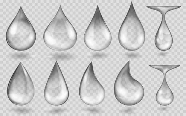 Set di gocce d'acqua traslucide in colori grigi in varie forme, isolate su sfondo trasparente