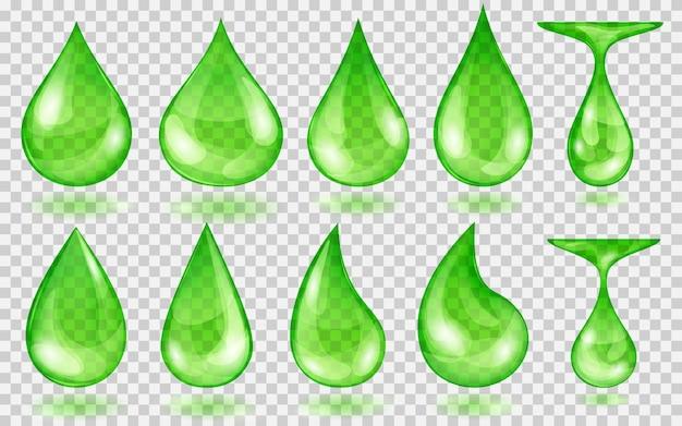 Set di gocce d'acqua traslucide nei colori verdi in varie forme, isolate su sfondo trasparente. trasparenza solo in formato vettoriale