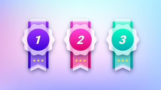 Set di badge premio trasparenti