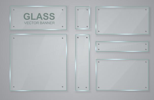 Set di banner trasparenti in vetro. cornice di vetro