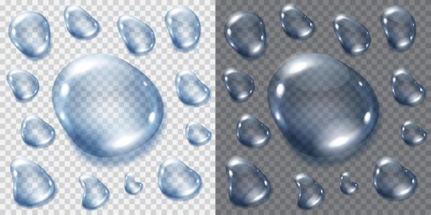 Set di gocce blu trasparenti.