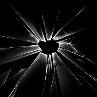 Set di pezzi di vetro rotto trasparente