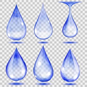 Set di gocce trasparenti nei colori blu. trasparenza solo in formato vettoriale. può essere utilizzato con qualsiasi sfondo