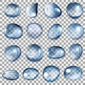 Set di gocce trasparenti di diverse forme nei colori blu scuro