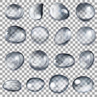 Set di gocce trasparenti di diverse forme nei colori grigi
