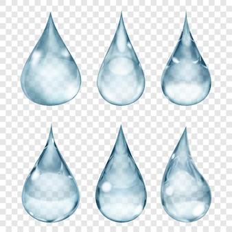 Set di gocce trasparenti nei colori grigi. trasparenza solo in formato vettoriale. può essere utilizzato con qualsiasi sfondo