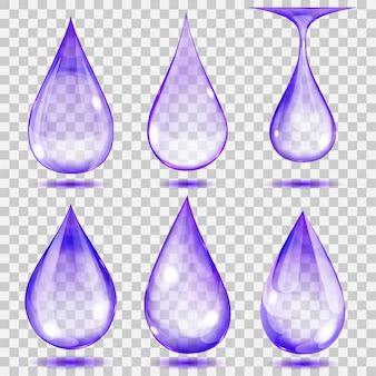 Set di gocce trasparenti nei colori viola.