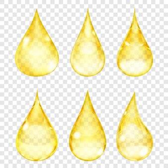 Set di gocce trasparenti nei colori gialli.