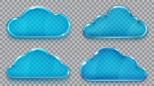 Set di nuvole di vetro trasparente nei colori blu. trasparenza solo in formato vettoriale. può essere utilizzato con qualsiasi sfondo