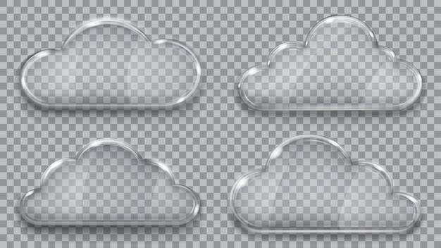 Set di nuvole di vetro trasparente nei colori grigi. .