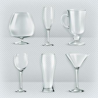 Set di bicchieri trasparenti calici, collezione di bicchieri da cocktail, illustrazione vettoriale,