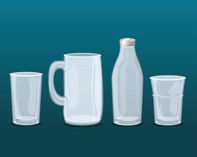 Set di bicchieri trasparenti