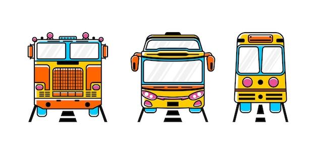 Set di illustrazione di trasporto. stile scarabocchio
