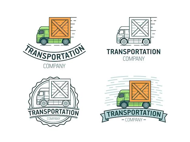 Set di modello di logo di trasporto. logotipo di trasporto con camion.