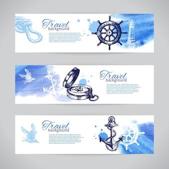 Set di banner di viaggio. design nautico di mare. schizzo disegnato a mano e illustrazioni ad acquerello