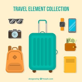 Set di elementi di viaggio in stile piatto