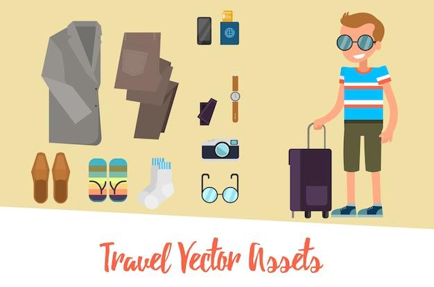 Set di icone di viaggio con carattere maschile