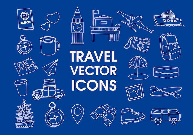 Insieme degli elementi di design delle icone di linea di viaggio