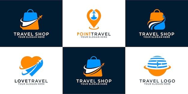 Set di negozio di viaggi, mappa, viaggi d'amore. il modello di icona del design del logo può essere utilizzato per le icone di viaggi, vacanze e aziende di affari vettore premium