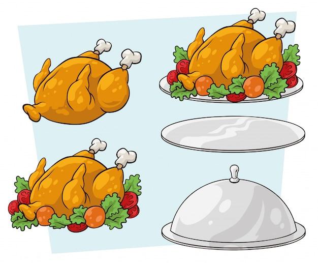 Set di vassoio e pollo