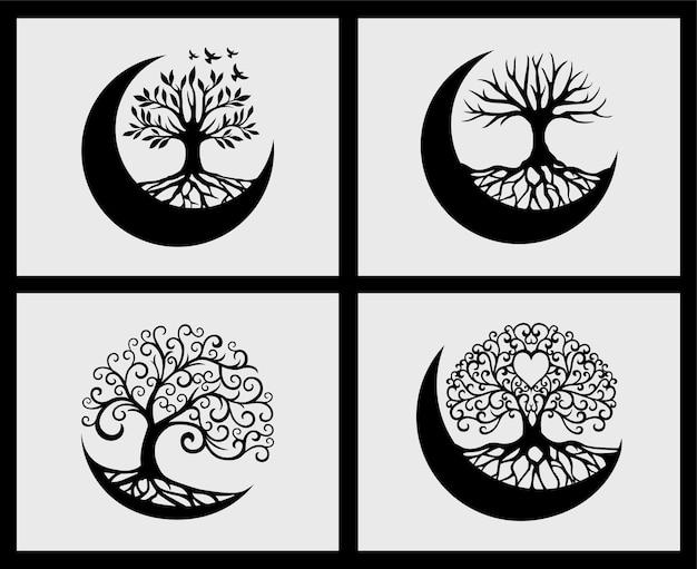 Set dell'elemento decorativo della luna crescente dell'albero della vita