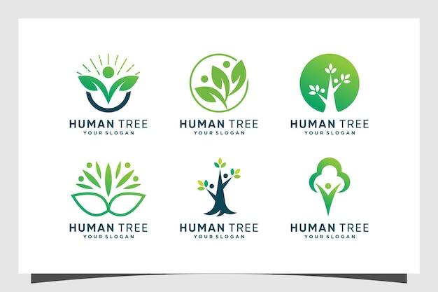 Set di design del logo dell'albero con il concetto umano vettore premium