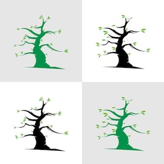 Set di modello di progettazione vettoriale logo albero