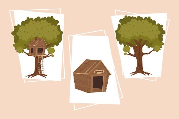 Set di piante ad albero e icone della casa del cane