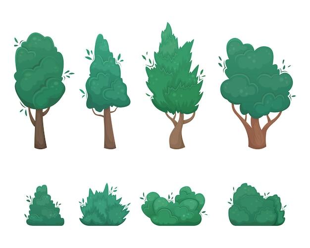 Insieme di alberi e cespugli in stile cartone animato.