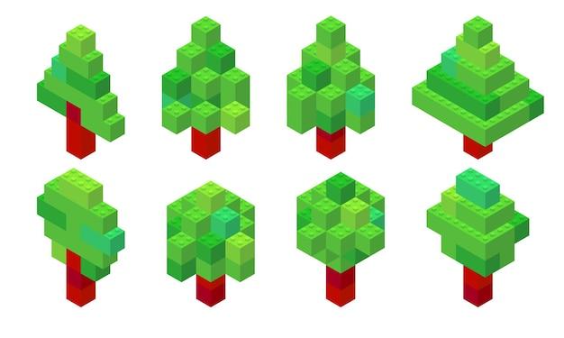 Insieme di alberi in vista isometrica raccolti da mattoni di plastica. conifere e latifoglie.