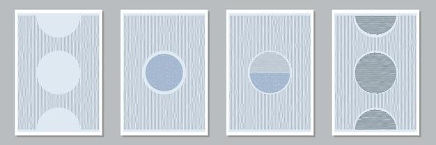 Set di composizioni dipinte a mano artistiche minimali creative astratte alla moda per la decorazione della parete, cartoline o copertine di brochure. illustrazione vettoriale.