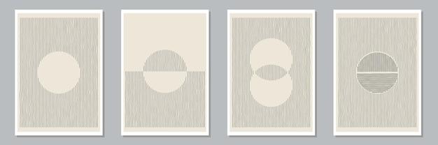 Set di composizioni dipinte a mano artistiche minime creative astratte alla moda per la decorazione della parete, cartoline o copertine di brochure. illustrazione vettoriale.