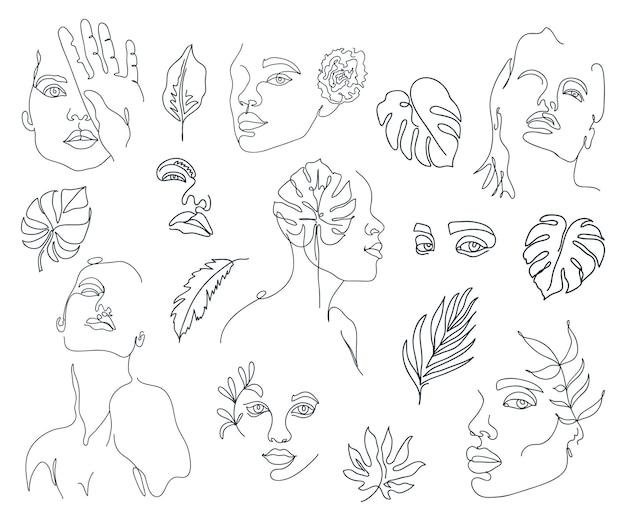 Set di volti di donna di una linea astratta alla moda con foglie di monstera