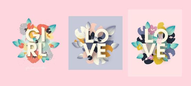 Set di carte alla moda, striscioni con fiori e foglie disegnati a mano