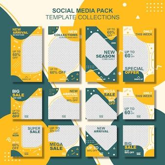 Set di design modello modificabile alla moda. adatto per post sui social media, storie o pubblicità.