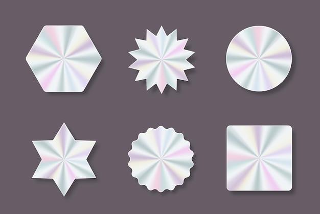 Set di adesivi colorati olografici alla moda e decalcomanie di diverse forme