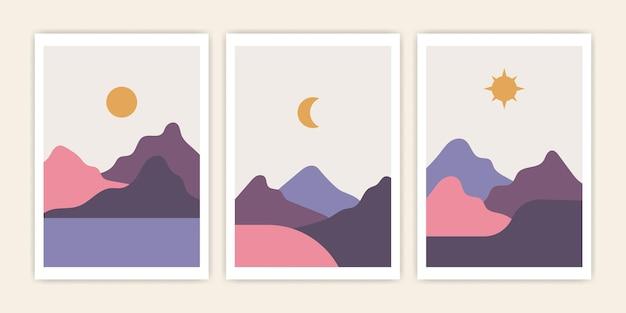 Set di paesaggi astratti paesaggistici minimalisti alla moda, luna e sole di montagna