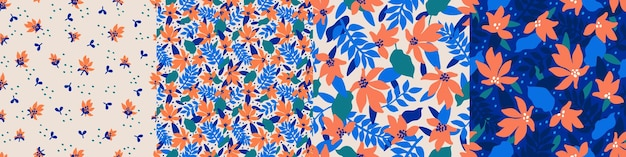 Imposta modelli senza cuciture alla moda con fiori decorativi disegnati a mano in tonalità blu e corallo motivi floreali vettoriali per la produzione di confezioni regalo con stampa tessile